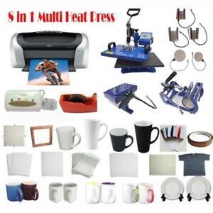 8IN1 Heat Press Printer CISS Iin Paper Sublimation Transfer KIT 000967