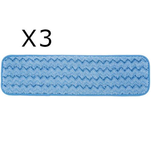 "LOT OF 3 RUBBERMAID HYGEN Q410 MICROFIBER MOP PAD 18"" BLUE"