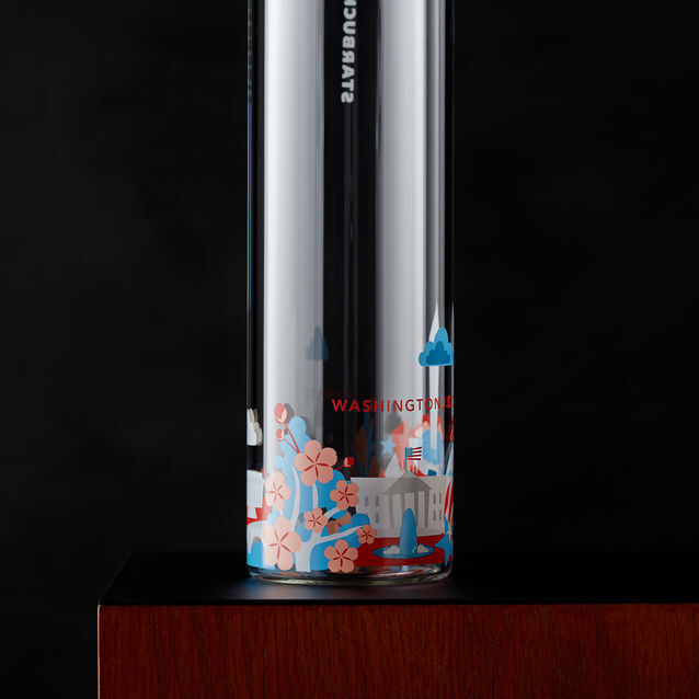 Starbucks Glass Water Bottle You Are Here Washington DC Monument Cherry Blossom