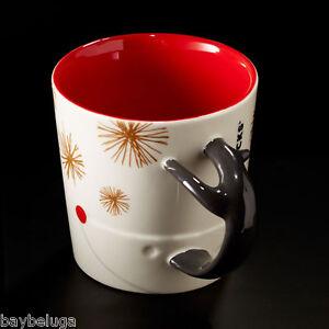 Starbucks Christmas 2015 Reindeer Antler Handle White/Red Mug Cup Xmas 12oz New!
