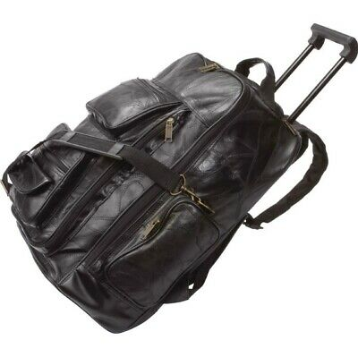 TROLLEY BACKPACK ROLLING LUGGAGE GENUINE LEATHER TRAVEL BAG BLACK STONE DESIGN (Backpack Luggage Trolley Bag)