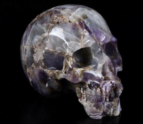 "Large 4.1"" DREAM CHEVRON AMETHYST Carved Crystal Skull, Realistic"
