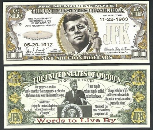 JFK John F. Kennedy Memorial Million Dollar Note - Lot of 2 Bills