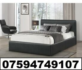 DOUBLE LEATHER BED FRAME + FREE 9 INCH SPRUNG MATTRESS £119