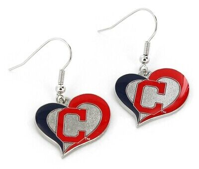Cleveland Indians Baseball Team Logo MLB Heart Swirl Charm Dangle Earrings Set