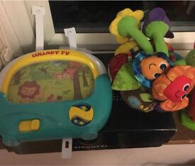 Baby cot toys- lullabye tv & lamaze chime garden