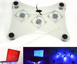 New USB 3 Fan Blue LED Light Laptop Notebook Cooling Cooler Pad Stand
