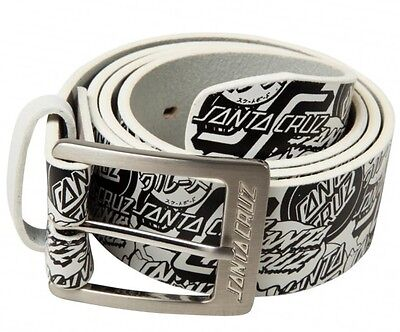 SANTA CRUZ OGSC Leather Belt - White -L/XL ADULT / Skateboard Surf