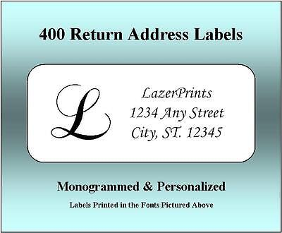 Monogrammed Personalized Return Address Labels. 400 Count 12 X 1.75 Inch.