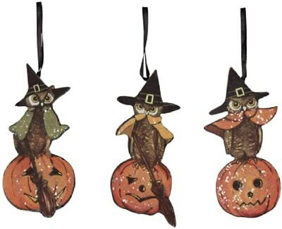 Bethany Lowe Halloween Retro Vintage Style Owl Ornaments 4 inch Set of 3