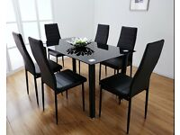 DINING TABLE AND CHAIRS SET BLACK GLASS WITH 4 OR 6 FAUX LEATHER CHAIRS BRAND NEW IN BOX ***
