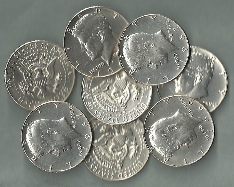 1965-1969 KENNEDY HALF DOLLARS, US 40% Silver Coin Lot - 8 Coins - $4.00 Face