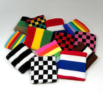 Sports Cotton Cloth Sweatband Flexible Wristband Fashion Accessory STRIPES PAIR