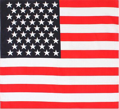 "Red White & Blue US Flag Biker Classic Cotton Jumbo Bandana (27"" x 27"")"