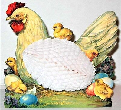 3D HEN & CHICKS EASTER GREETING CARD DECORATION w/Honeycomb EGG! MINT Shackman