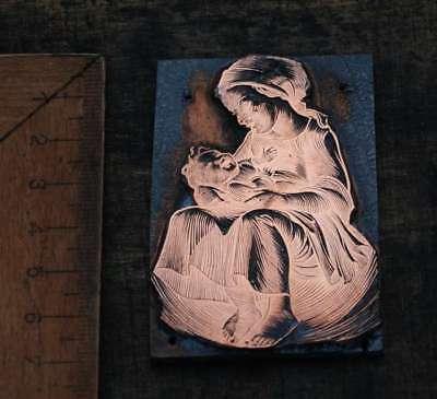 FRAU MIT KIND Galvano Druckplatte Klischee Eichenberg printing plate copper