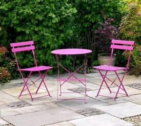 Bright pink garden furniture set