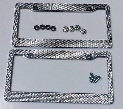 2 Bling License Plate Frame White Silver Glitter Crystal Sparkling (License 2 Bling License Plate Frames)