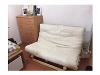 Ikea Double wooden futon sofa bed with mattress