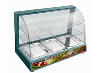color Display Cabinet Counter Electric Pie Pasty Sausage Rolls Hot Food B New