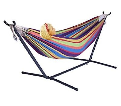 X-Factor 9Ft Double Cotton Hammock With Space Saving Steel Stand Pink Strip NEW