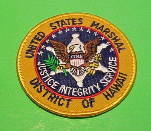 """UNITED STATES MARSHAL DISTRICT OF HAWAII  3 1/4""""  POLICE PATCH  FREE SHIPPING!!!"""