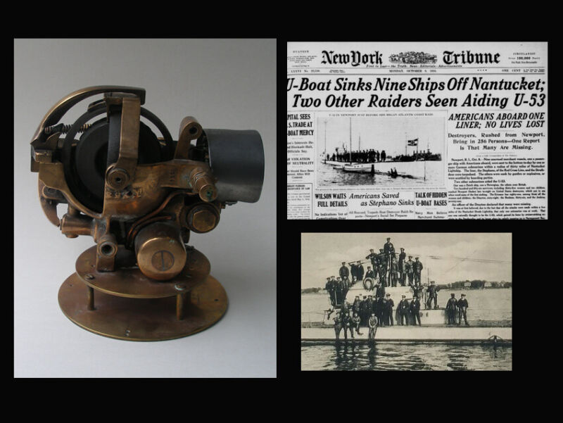 Authentic WWI German torpedo gyroscope from the famous U-Boat 53. Museum piece.