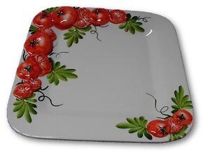 Bassano italienische Relief Keramik Servierplatte quadratisch Tomate NEU