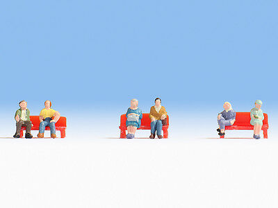 Z gauge Noch 44203 SIX Seated People : 1:220 scale Figures