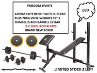 ADIDAS MULTI PURPOSE BENCH + CURL 70KG VINYL WEIGHTS SET 2 DUMBELLS 1 BAR EZ BAR