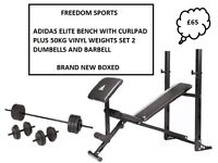ADIDAS MULTI PURPOSE BENCH + CURL 50KG VINYL WEIGHTS SET 2 DUMBELLS BARBELL BNB