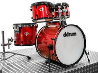 DRUMS: DDrum Diablo 5-Piece Drum Set , Shell Drum Kit / Metallic Red Wrap.