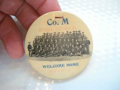 CO. M 51ST IOWA LARGE CELLULOID BADGE FOB ~ SPAN AM WELCOME HOME