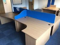 2 - PANEL END CORNER DESKS IN BEECH - 1600MM X 1200MM - GOOD CONDITION