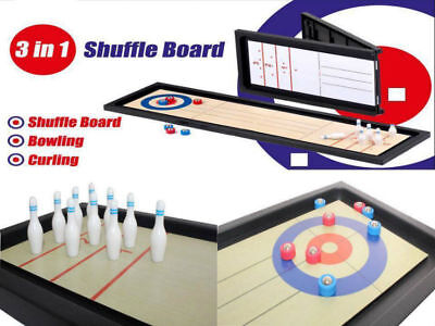 3 in 1 Traditional Tabletop Games Set Bowling Curling Shuffle Board