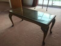 Antique Queen Anne glass top coffee table
