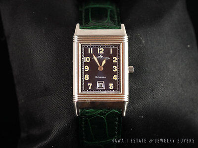 JAEGER LECOULTRE REVERSO WATCH STAINLESS STEEL GREEN ALLIGATOR BAND WITH BOX
