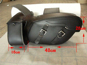 Black-Motorbike-Panniers-Rider-Leather-Motorcycle-universal-Cruiser-Saddle-Bags