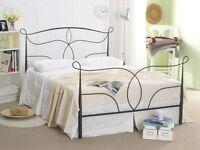 EX DEMO. 5ft King size black metal bed frame, bedstead. High foot end, classic design