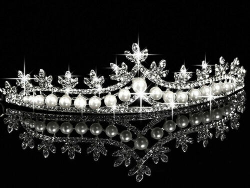 925 STERLING SILVER ROSE CUT NATURAL PEARL & DIAMOND HAIR JEWELRY TIARA CROWN