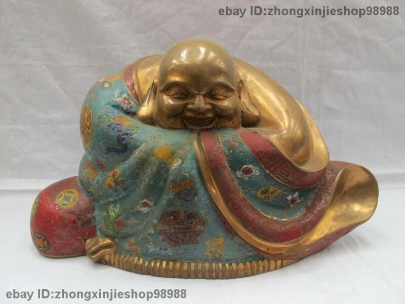 China Buddhism Pure Bronze cloisonne Happy laughing Maitreya Buddha Statue