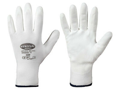 Beschichtete Arbeits-handschuhe (1-240 Paar STRONG HAND CLASSIC BEIJING PU-beschichtete weiße Arbeitshandschuhe)