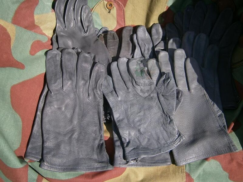 Gloves Military leather German Bundeswehr, German Military Grey Leather Gloves