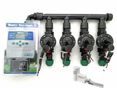 Kit Irrigation Sensor Rain Programmer Hunter 4 Zone Solenoid Valve