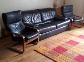 3 seater navy leather settee ans 2 ikea navy leather chairs