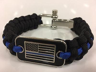 Police Flag Thin Blue Line Cops Paracord Survival Bracelet LEO Respect Honor USA - Blue Paracord