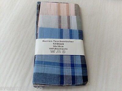 12 Stück Herren Taschentücher 100 % Baumwolle Stofftaschentücher Tücher