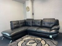 Beautiful black leather Harvey's corner sofa delivery 🚚 sofa suite couch furnt