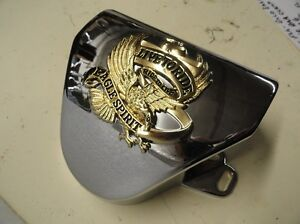 FL-PANHEAD-SHOVELHEAD-NEW-REPO-CHROME-HANDLEBAR-COVER-W-GOLD-EAGLE-EMBLEM