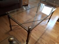 Glass and Brass Coffee Table Set (2 tables) from M&S